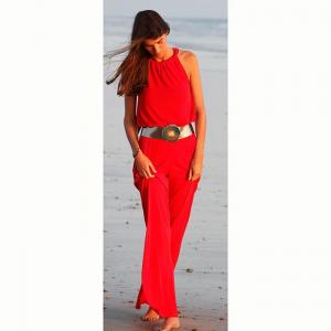 """AMERICAN NECK JUMPSUIT WITH TIE ORNAMENT """"DANIELLA""""-Navy blue-S"""