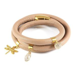 Triple-twisted leather bracelet with drangofly and swarovski crystals - different styles - dige designs