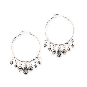 Silver hoop earrings with swarovski crystals - dige designs
