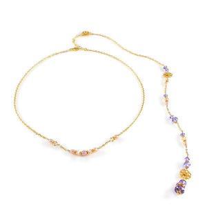Short necklace with back pendant and swarovski crystals - dige designs