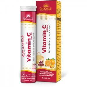 Sunshine nutrition vitamin c 1000mg orange flavour 20 tablets - sunshine