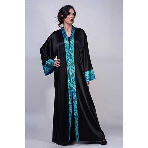 Iris sapphire satin silk abaya - kaftan de moi