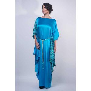 Iris sapphire exclusive satin silk kaftan - kaftan de moi