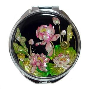 Mother of Pearl Compact Mirror - Lotus Flower - Antique Alive