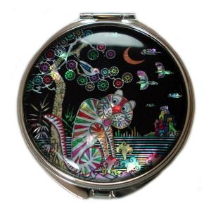 Mother of Pearl Compact Mirror - Tiger and Magpie - Antique Alive