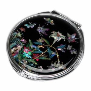 Mother of Pearl Compact Mirror - Lily - Antique Alive