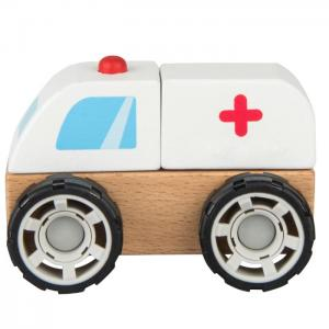 Wooden vehicle for mounting and dismounting: AMBULANCE - JUGUETES Y PELUCHES NEO
