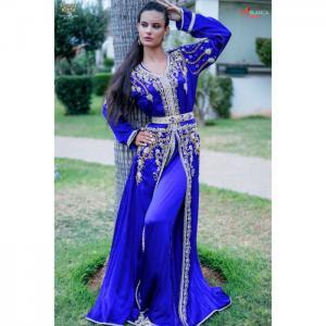 2 pieces royal blue caftan - hayat zaim