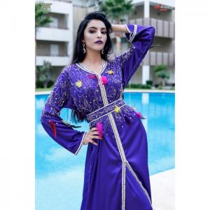 2 pieces caftan, purple satin - hayat zaim