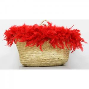 Carrycot of osier and red feathers - julunggul