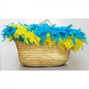 Carrycot of osier and turquoise and yellow feathers - julunggul