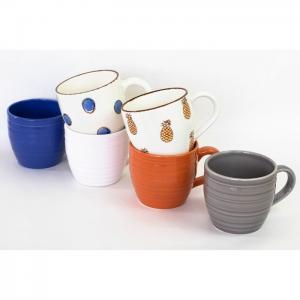 Set of 6 Mugs- 2 of each decor/color - EQC Ceramics