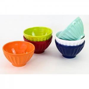 Set of 6 Cereal Bowls Assorted colors - EQC Ceramics