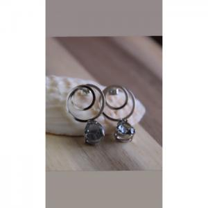 Circle silver earrings - blombary design