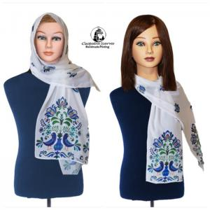 Scarf for head and neck-handmade printing - bluebird design - cleopatra