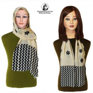 Scarf for head and neck-handmade printing - zigzag and flower pattern - cleopatra