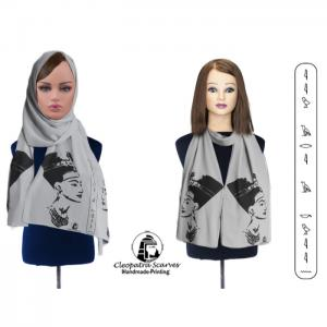 Scarf for head and neck-handmade printing - grey - nefertiti black printing - cleopatra