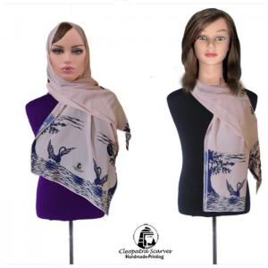 Scarf for head and neck-handmade printing - rose color pelican stencil design - cleopatra