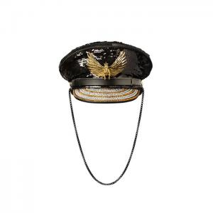 Captain luxury hat black and gold - gianin