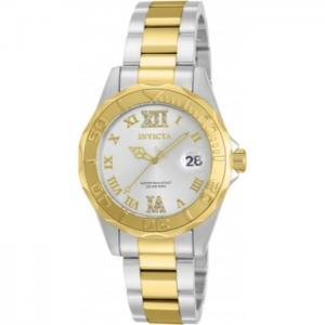 INVICTA Pro Diver Lady 38mm Stainless Steel Gold + Steel Silver dial PC32A Quartz