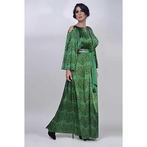 Iris emerald exclusive satin silk kaftan - kaftan de moi