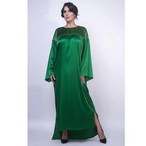 Iris emerald satin silk kaftan - kaftan de moi