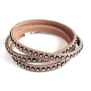 Triple-twisted leather bracelet with swarovski crystals - different styles - dige designs