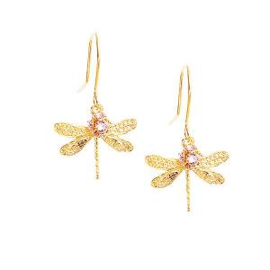 Dragonfly earrings with swarovski crystal balls - dige designs