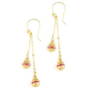 Long goldplated earrings with swarovski crystals - dige designs
