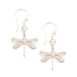 Dragonfly earrings with silver shade swarovski crystals - dige designs