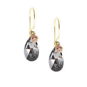 Earrings with black diamond swarovski crystal drops - dige designs