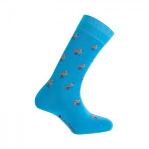 Short mercerized cotton socks - flamingos - punto blanco