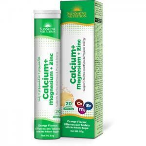 Sunshine nutrition calcium + mag + zinc effervescent 20 tablets - sunshine