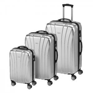 Princess travellers jamaica luggage trolley bag silver set of 3 - princess traveller