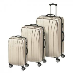 Princess travellers jamaica luggage trolley bag gold set of 3 - princess traveller