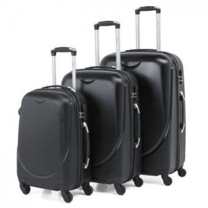 Senator abs spinner trolley luggage bag black 3pc set kh1343blk - senator