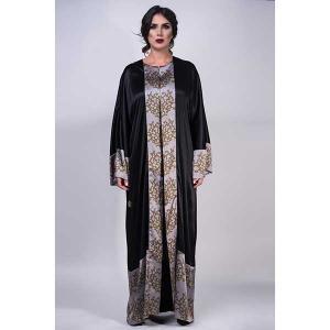 Iris onyx satin silk abaya - kaftan de moi