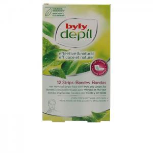 DEPIL bandas faciales menta y té green 12 uds - BYLY