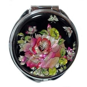 Mother of Pearl Compact Mirror - Rose - Antique Alive