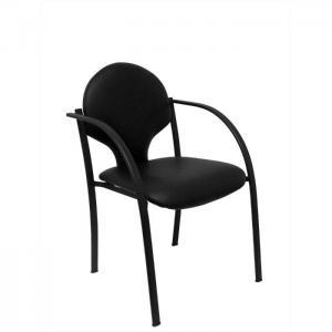 Pack 2 sillas hellin chasis negro similpiel negro - piqueras y crespo