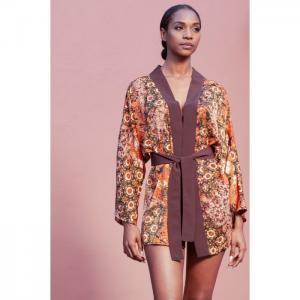 Kimono or japanese jacket in brown print - stella-b