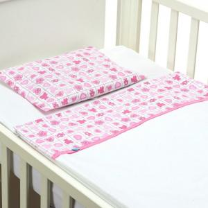 Easy Baby Bed - Pink Hearts with Pink Ribbon - 60x120 cm  - B-MUM