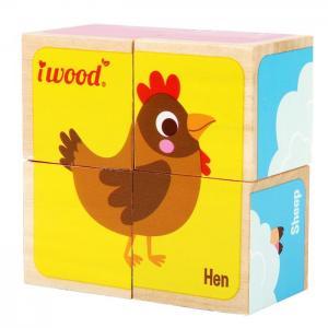 WOODEN CUBES PUZZLE 4: FARM ANIMALS - JUGUETES Y PELUCHES NEO