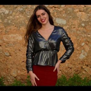 Drapeed long sleeved blouse - odissea