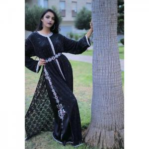 2-piece outfit: black lace caftan - hayat zaim