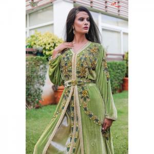 2-piece outfit, lawn green velvet caftan - hayat zaim
