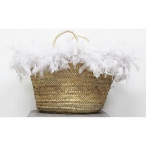 Carrycot of osier and white feathers - julunggul