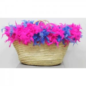 Carrycot of osier and feathers fucsia and blue - julunggul
