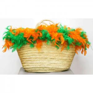 Carrycot of osier and green feathers and orange - julunggul
