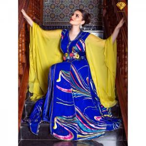 Caftan with yellow sleeves like butterfly - njk luxet passion